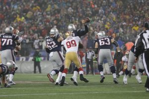 49ers defense was able to sack Tom Brady 4 times on the day.