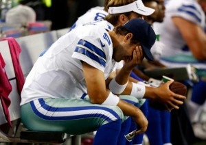 Tony Romo was clearly upset over the loss to the Vikings