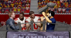 The New York Giants celebrate their first ever 2K OLF Super Bowl win