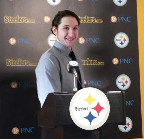 Coach Mark Miller during his press conference introduction as head coach of the Steelers.