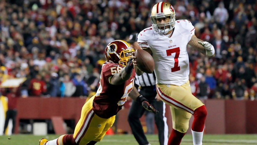 49ers QB Colin Kaepernick was under constant pressure in the loss to the Redskins.