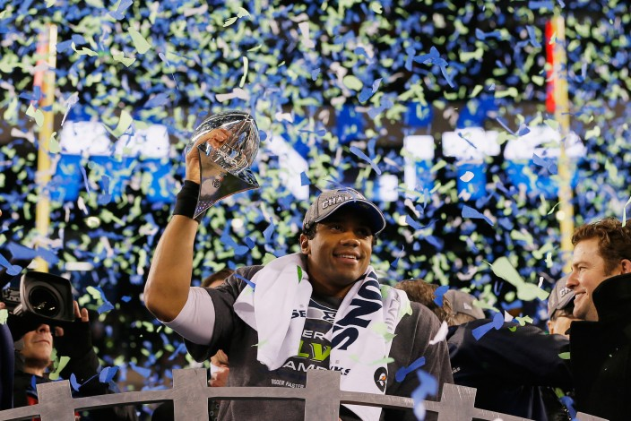 Russell Wilson and the Seahawks celebrate their second consecutive Super Bowl win.