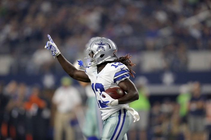 Lucky Whitehead celebrates his 3rd touchdown of the game.