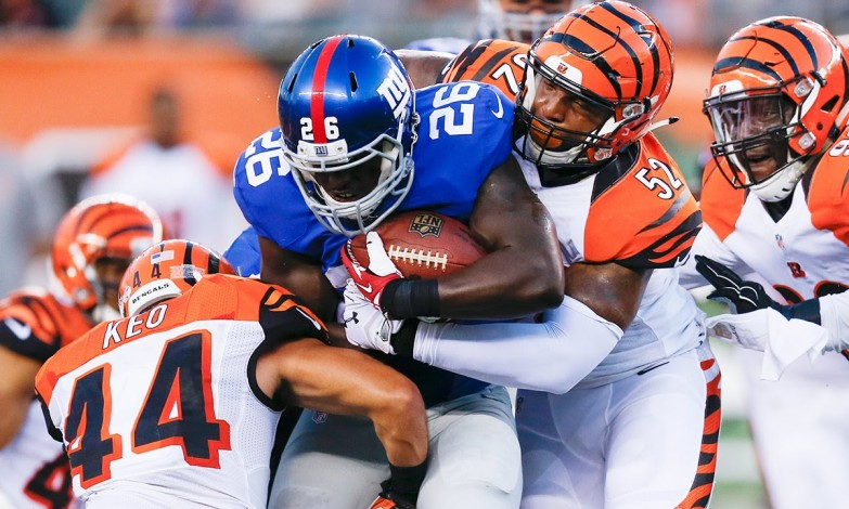 It was a hard hitting game between the Giants and the Bengals