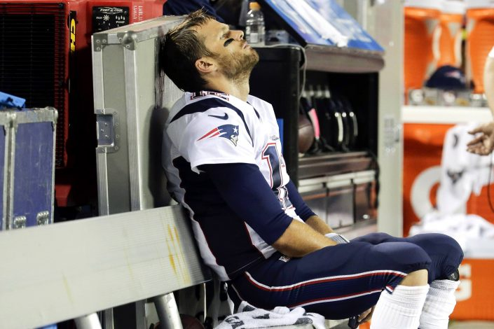 Tom Brady sit on the bench as his team gets swept by the Bills for the first team in team history.