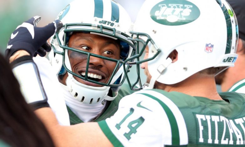 Brandon Marshall celebrates his first touchdown of the season.