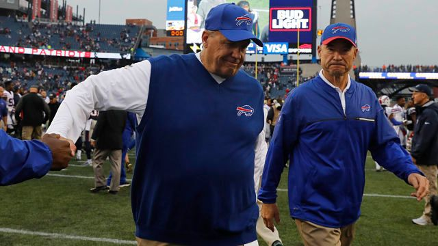 Rex Ryan exits the field after the Bills defeated the Patriots 14-6.