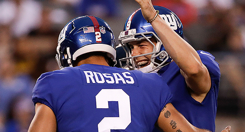 Alderick Rosas celebrates after giving the Giants the lead late in the 4th quarter